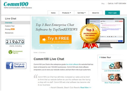 comm100 free live chat