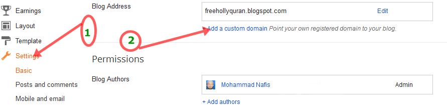 Cutom domain name screenshot